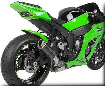 Hotbodies Racing MGP Growler Carbon Slip-on Exhaust System 2011-2012 Kawasaki ZX10R
