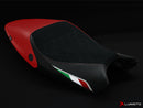 LuiMoto Diamond Edition Seat Cover for Ducati Monster 696/796/1100 - Suede/Cf Black/Red - Black Diamond Stitching