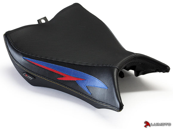 LuiMoto Tribal Flight Seat Covers for 2008-2015 Honda CB1000R - CF Black/Deep Blue/Red