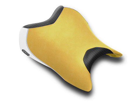 LuiMoto Anniversary Edition Seat Cover 06-07 Yamaha YZF-R6 - Cf Black/Deep Yellow