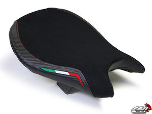 LuiMoto Team Italia Suede Leather Front Seat Cover 2009-2015 Ducati Streetfighter - Red Stitching