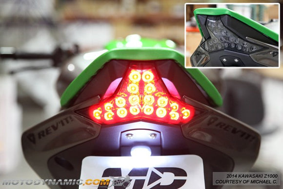Motodynamic Sequential LED Tail Light 2014-2016 Kawasaki Z1000, 2016+ ZX10R - Light Smoke