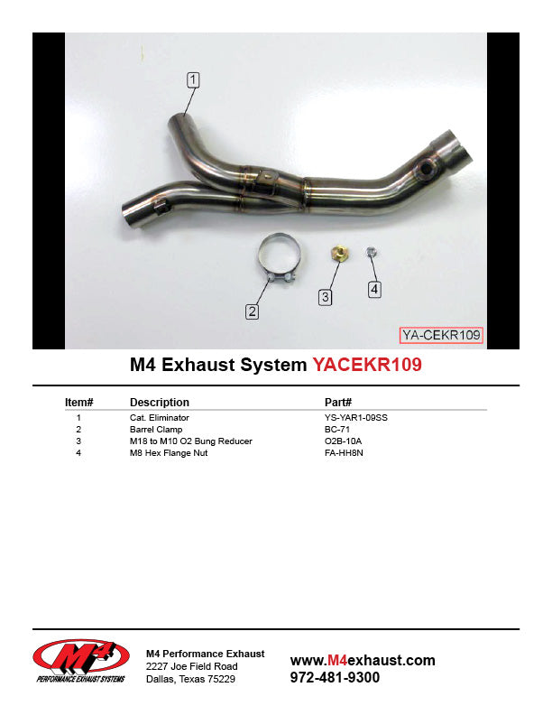 M4 Catalytic Converter Eliminator Mid-pipe '09-'14 Yamaha R1