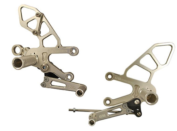 Woodcraft Full Rearsets Clear Anodized STD Shift for 2011-2015 Aprilia RSV4 APRC / Tuono