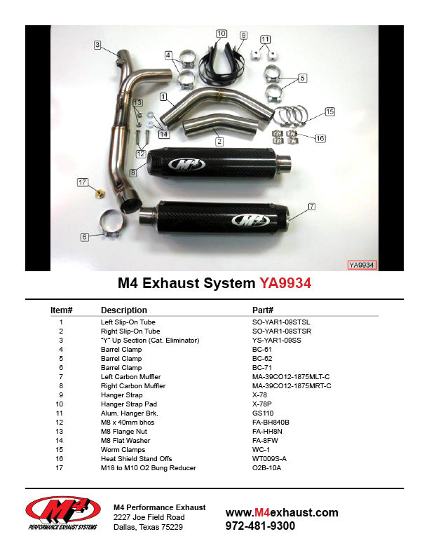 M4 Cat Eliminator Slip On  Exhaust System 2009-2014 Yamaha R1