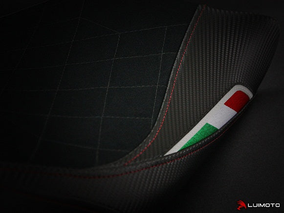 LuiMoto Diamond Edition Seat Cover for '08-'14 Ducati Monster 696/795/796/1100 - Suede/Cf Black/Cf Pearl