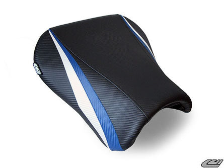 LuiMoto Team Suzuki Seat Covers for 2004-2005 Suzuki GSX-R 600/750 - CF Black/CF Blue/CF Pearl