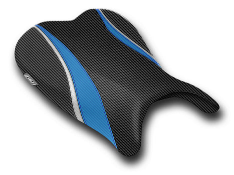 LuiMoto Team Suzuki Seat Covers for 2006-2007 Suzuki GSX-R 600/750 - CF Black/CF Blue/CF Silver