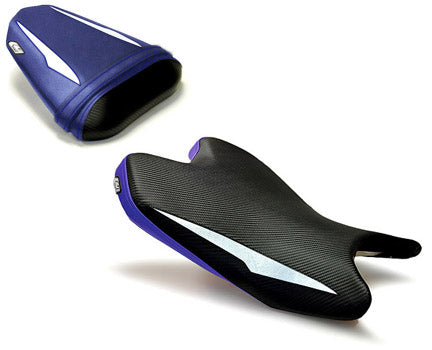 LuiMoto Raven Edition Seat Cover 2008-2015 Yamaha YZF R6 - Cf Black/White/Blue
