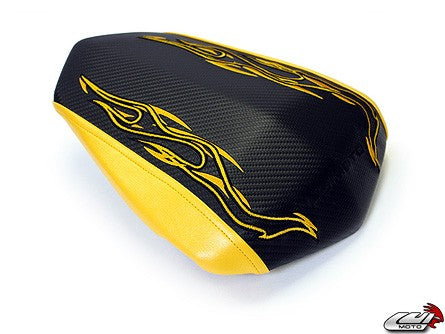 LuiMoto Flame Edition Seat Cover '09-'14 Yamaha YZF R1 - CF Black/Yellow