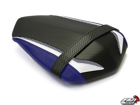 LuiMoto Raven Edition Seat Cover '09-'14 Yamaha YZF R1 - CF Black/Pearl/Blue