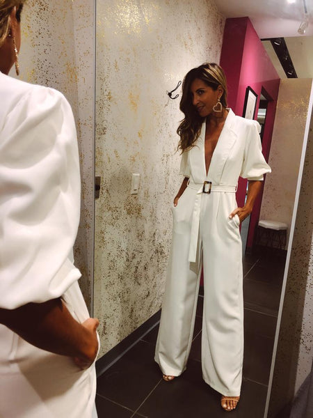 White Jumpsuit With Belt Detail