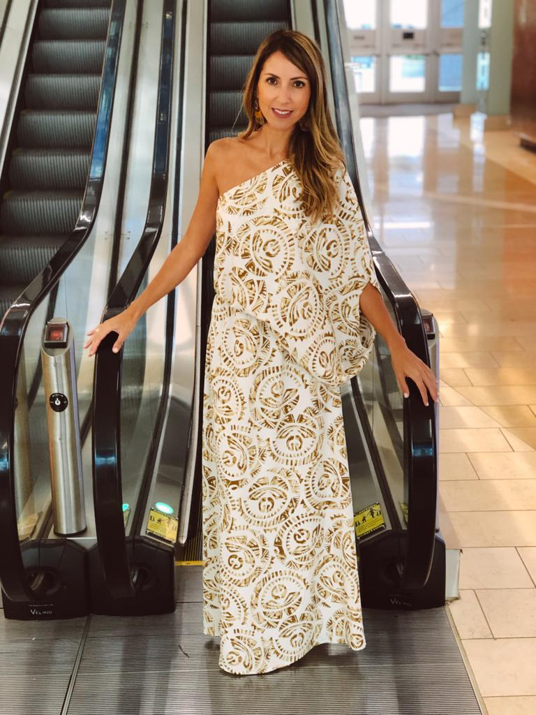One Shoulder Gold Maxi Dress