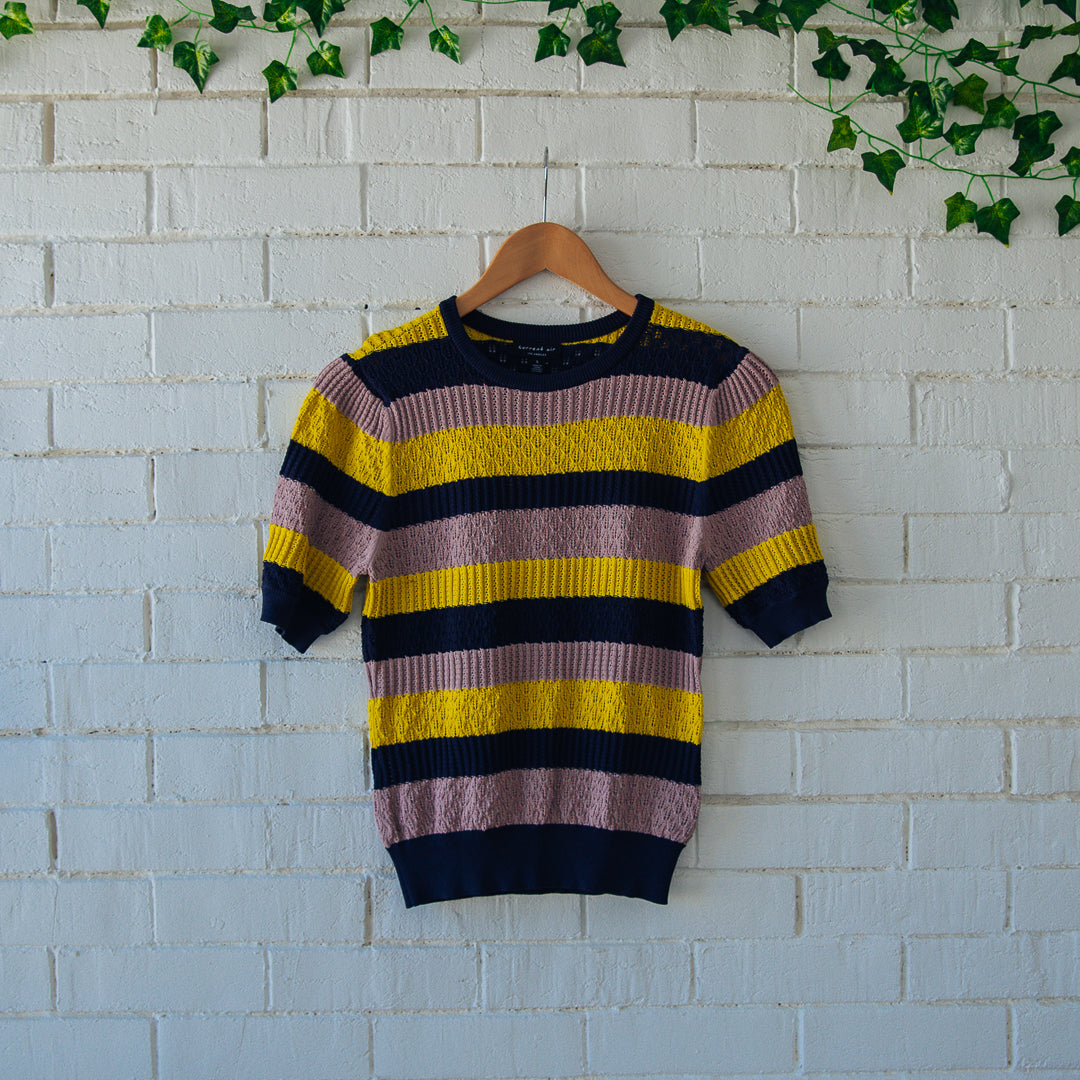 Striped Knit Short-Sleeve Sweater