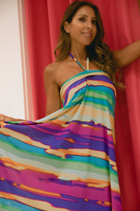 Rainbow Halter String Short Dress