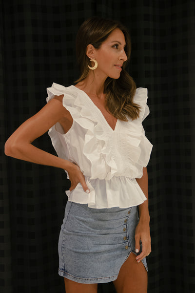 Detailed V Neck Ruffle Top