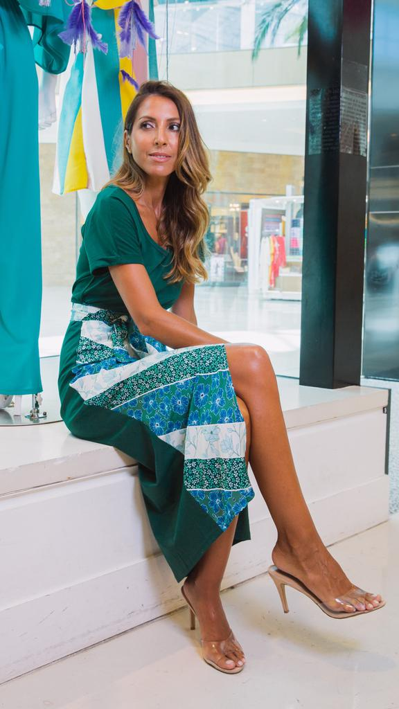 Green Floral Lounge Wrap Dress