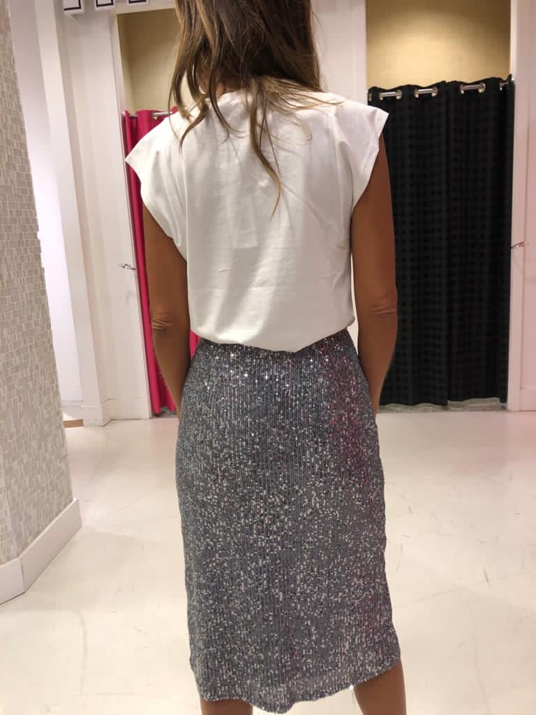 Sequin Midi Slit Skirt