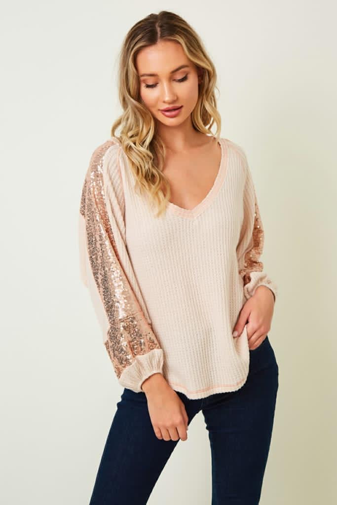 3/4 Sleeve Sequin Contrast Knit Top