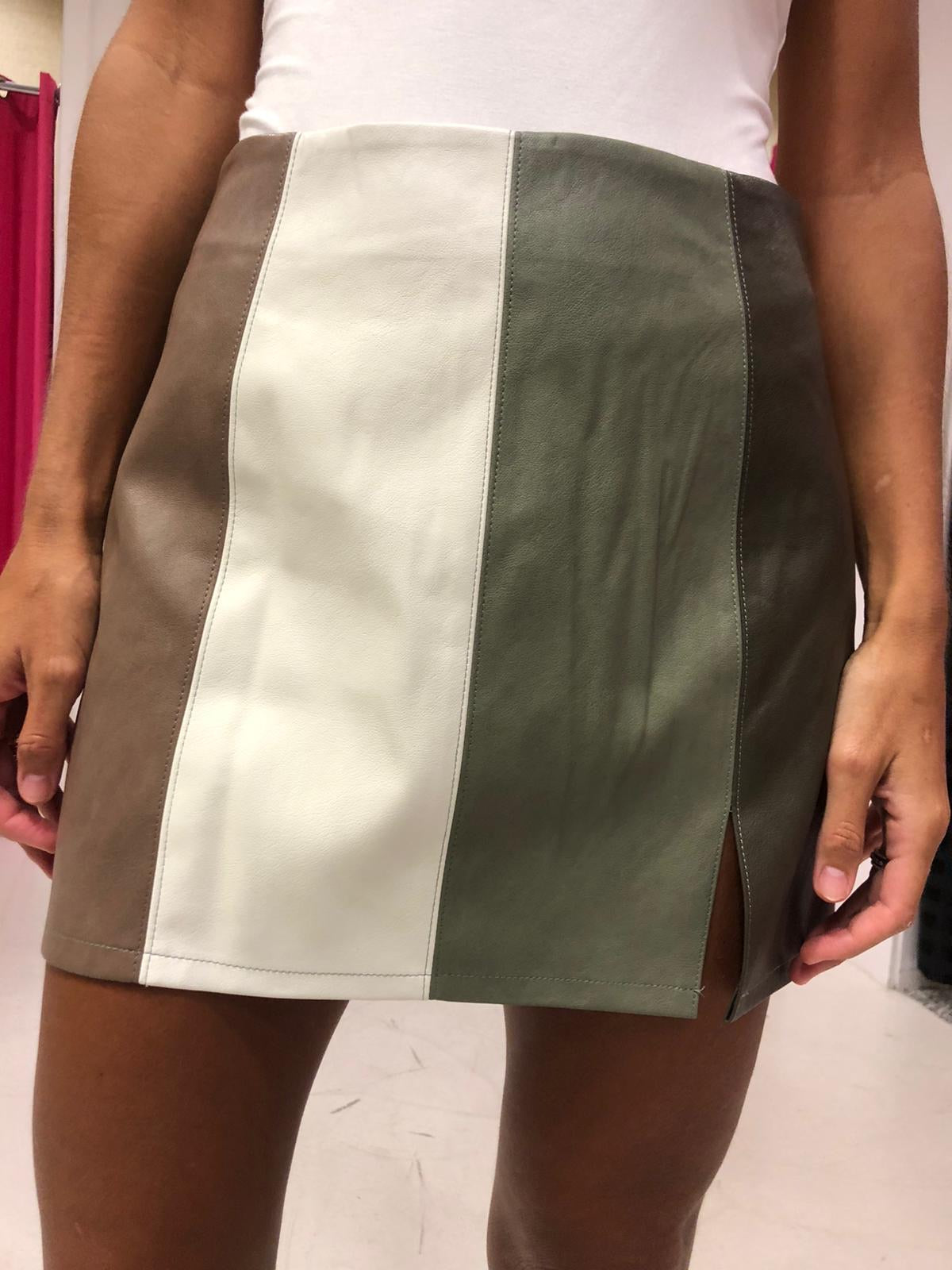 Color Block Faux Leather Skirt
