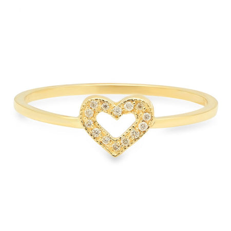 Mini Loving Heart Diamond Dangle Ring