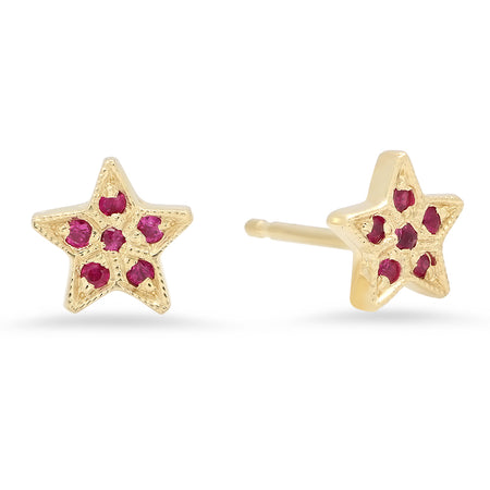Triangle Ruby Birthstone Stud Earrings
