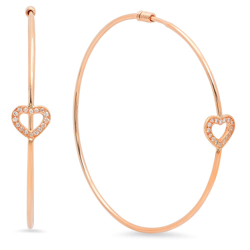 Loving Heart Diamond Hoop Earrings