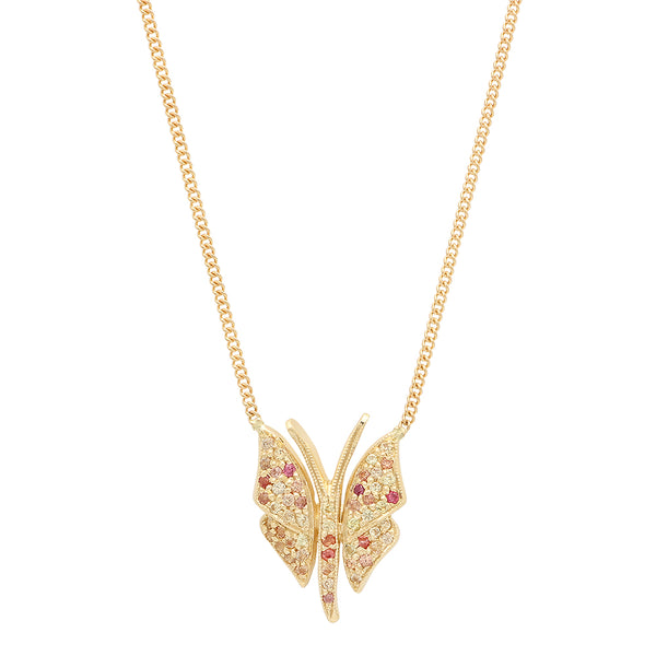 Multi-Colored Sapphire Butterfly Necklace