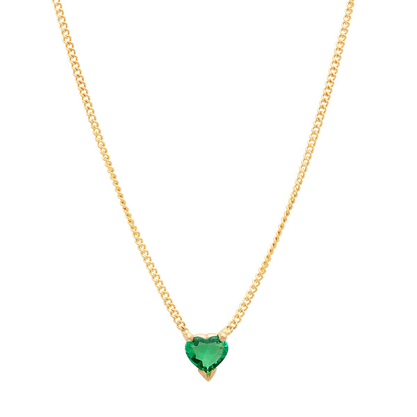 Heart Shaped Emerald Necklace