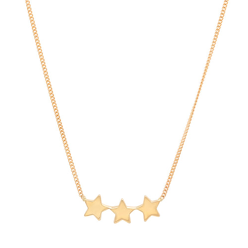 Three Star Dainty Gold Necklace