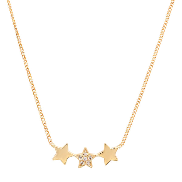 Three Star Dainty Diamond Necklace