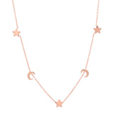 Chic Moons & Stars Gold Station Necklace