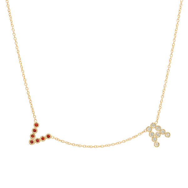 (2 Precious Initials w/ Birthstones) DSJ's Signature Meaningful Multi Birthstone & Initial Necklace