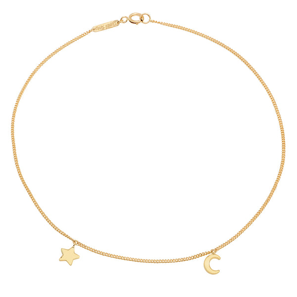 Mini Half Moon & Star Gold Anklet