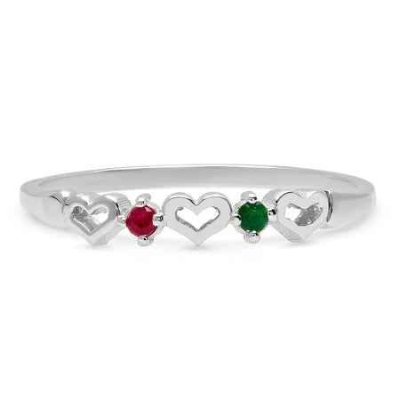 Tiny Open Heartbeats Birthstone Ring