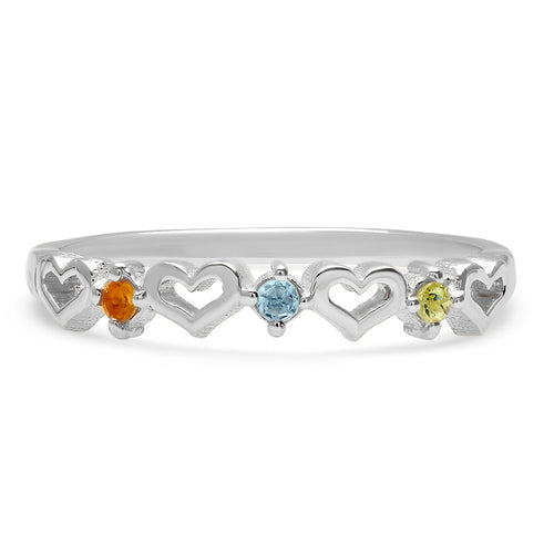 DSJ's Signature Tiny Open Heartbeats Birthstone Ring