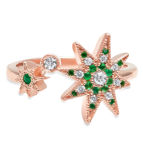 Precious Stars Emerald Diamond Ring