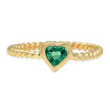 Precious Heart Shaped Emerald Twisted Ring