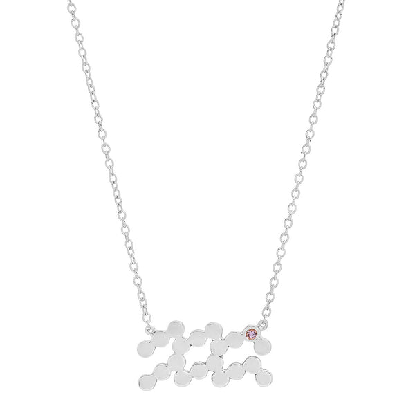 Dana Seng Signature Aquarius Zodiac With Precious Birthstone Necklace