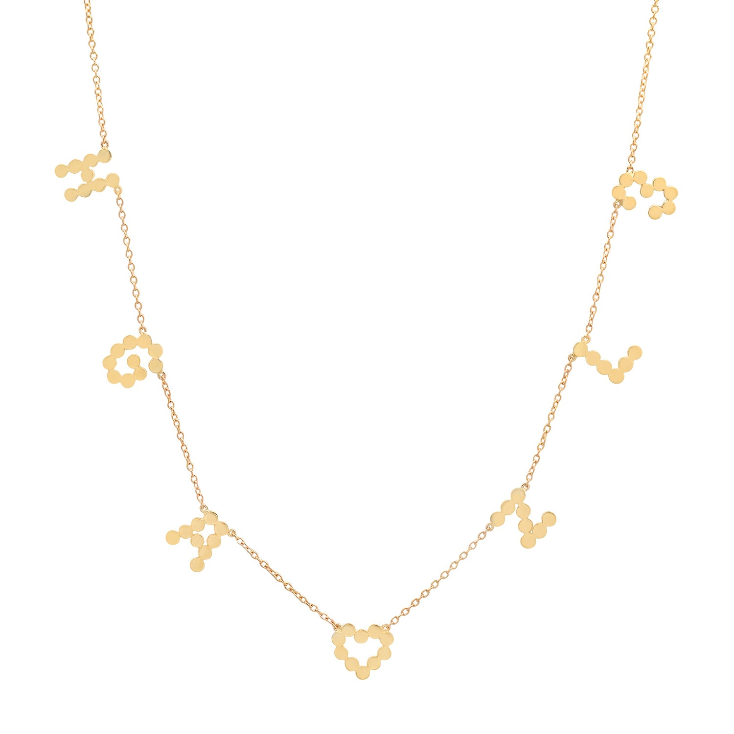 """7 Precious Initials"" DSJ's Signature Meaningful Multi Gold Initial Necklace"
