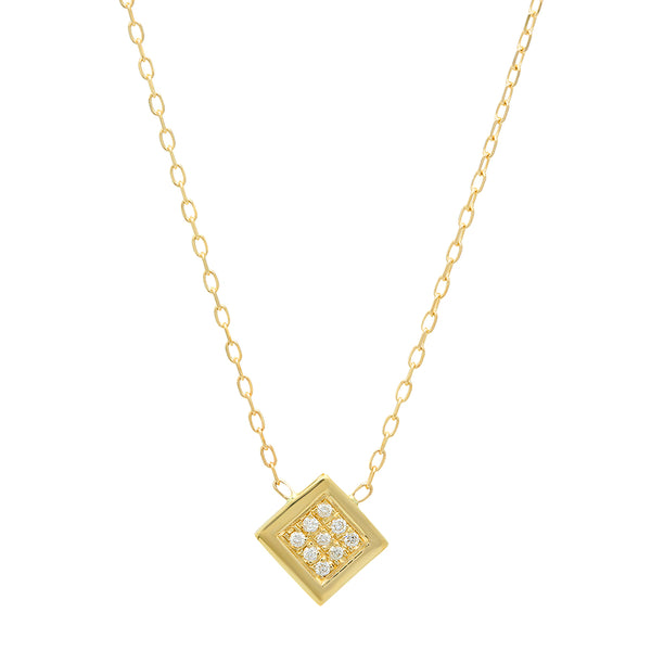 Twisted Luxurious Square Diamonds Necklace