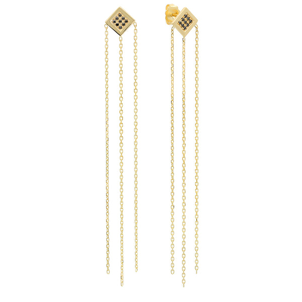 Twisted Square Shaped Chain Fringe Earrings