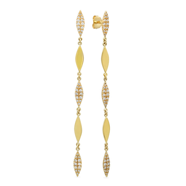 Slender Paragon Shaped Diamond Sling Earrings