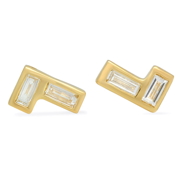 Horizontal/Vertical Baguette Shaped Stud Earrings