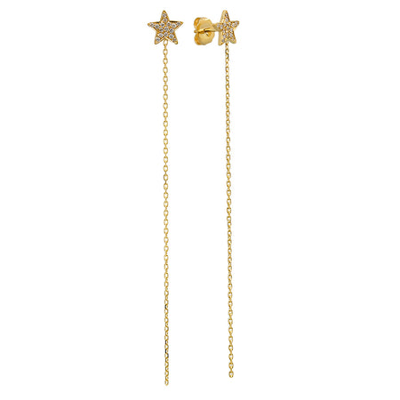 Baby Mini Moon & Star Gold Dangle Earrings