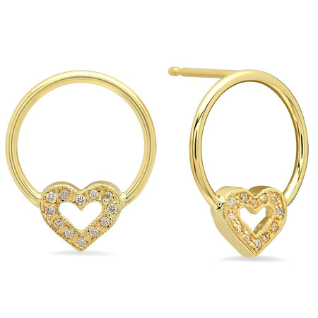 Golden Heart Circle Earrings