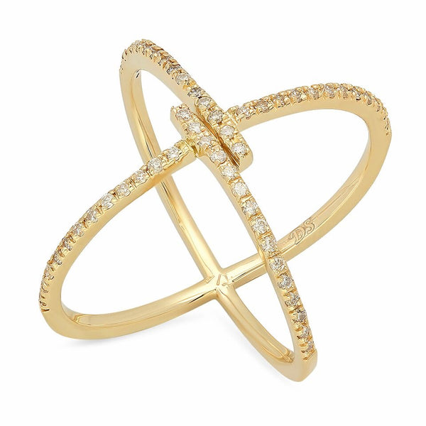 Remarkable Diamond X Ring gold