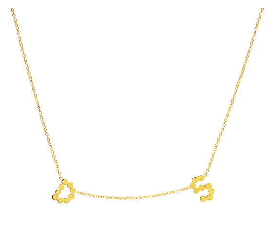 (Initial & Sideways Cross) DSJ's Signature Meaningful Gold Initial + Sideways Cross Necklace