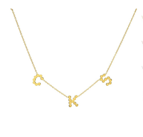 (2 Gold Initials + 1 Diamond Heart) DSJ's Signature Meaningful Multi Initial Necklace