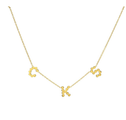 DSJ's Signature Meaningful Multi Gold Initial + Sideways Cross Necklace